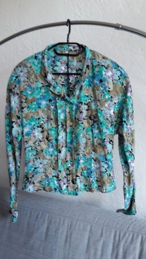 True Vintage Bluse Hemd L 40 bunt türkis oversize Muster