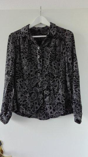 True Vintage Bluse Muster M 38 L 40 schwarz weiß