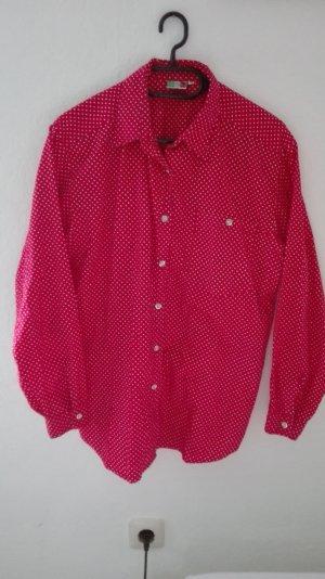 True Vintage Bluse rot gepunktet oversize M 38 L 40 locker