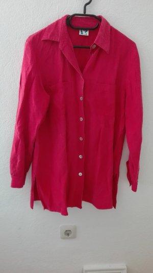 True Vintage Bluse rot oversize XL L 40 locker Seide Leinen