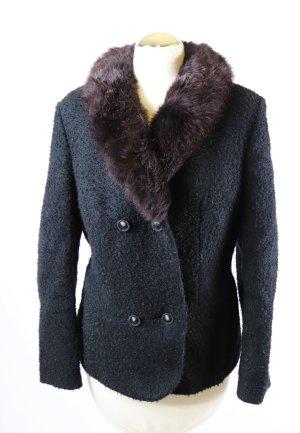 True Vintage Boucle Pelz Blazer Jacke Größe 40 42 Schwarz Braun Dunkelbraun Pelzkragen Rockabilly