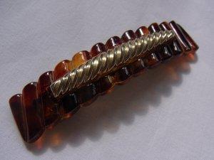 True Vintage braune goldene Haarspange / Haarschmuck / Haarklemme in Hornoptik / Bernsteinoptik
