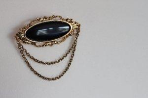 Vintage Brooch black-gold-colored metal