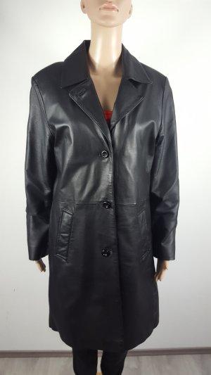Vintage Abrigo de cuero negro Cuero