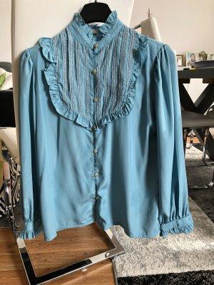 Vintage Ruche blouse veelkleurig