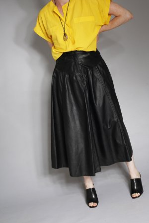 True Vintage Echt Leder Maxi Rock schwarz Gothic Blogger Minimal Goth black 34 36 XS S