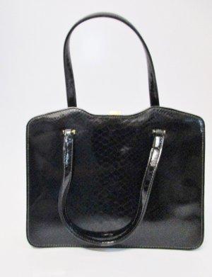 True Vintage Edel Lack Handtasche Goldpfeil Schwarz Leder Kroko Schlange Prägung Bügelverschluss Clip Goldfarben Tasche