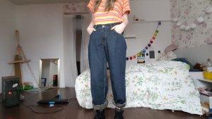 Vintage Pantalón de cintura alta azul-azul oscuro Algodón