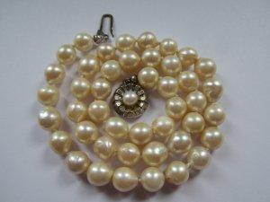 Collana di perle argento-bianco sporco Argento