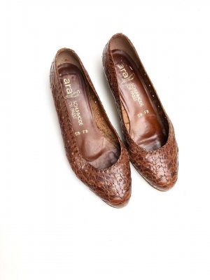 Tacones Mary Jane coñac-marrón Cuero