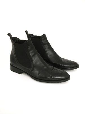 True Vintage Glattleder Chelsea Boots Made in Italy Leder Stiefelette Schwarz Clean Minimal Chic