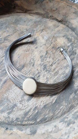 Statement Necklace silver-colored-cream