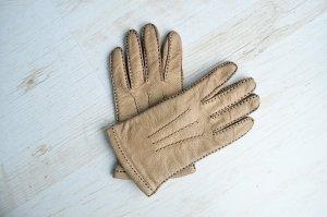 True Vintage Handschuhe Echtleder Lederhandschuhe Sandfarben Gefüttert