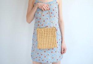 true vintage handtasche flechttasche geflochten knipsverschluss