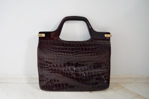 True Vintage Handtasche Ledertasche Echtleder Lackleder 60er 70er Bordeaux Marmoriert