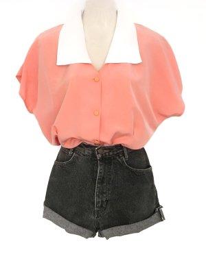 True Vintage Hemd Bluse mit großem Kragen Retro Chic Pastell Rosa