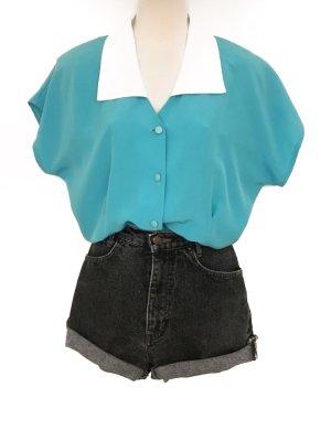 True Vintage Hemd Bluse mit großem Kragen Retro Chic Pastell Türkis