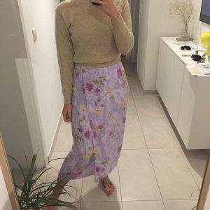 Vintage Falda cruzada púrpura-amarillo pálido Viscosa