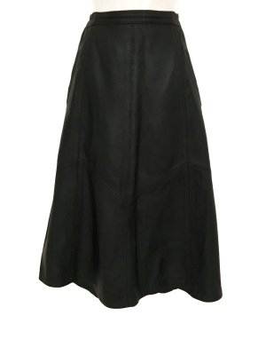 True Vintage Highwaist Lederrock A Linie Leder Rock Skirt Leather Schwarz Blogger Style