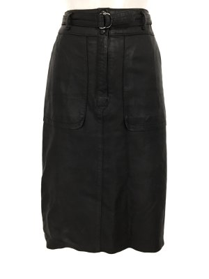 True Vintage Highwaist Lederrock Midi Leder Rock Skirt Leather Schwarz Blogger Style