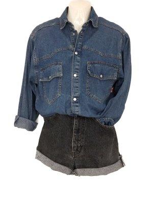 True Vintage HIS 90er Jeanshemd Retro Denim Hemd blau Urban Street Style