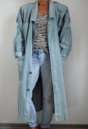 True Vintage Jeansmantel Faded Nieten Trenchcoat Jeansjacke Oversized