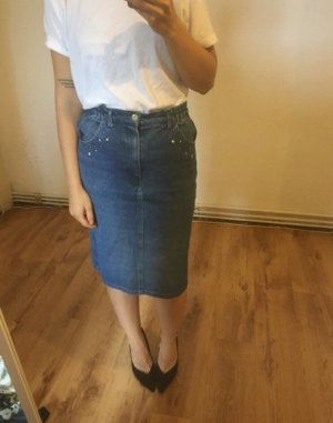 Vintage Spijkerrok veelkleurig Katoen