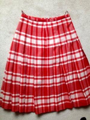 Falda de talle alto blanco puro-rojo ladrillo Lana