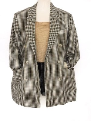 True Vintage Karo Oversize Blazer Schurwolle Seide Blogger Style Kariert Anzug Jacke