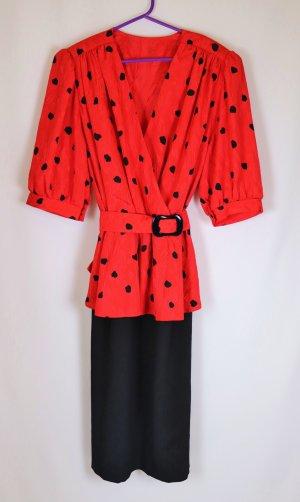 Vintage Peplum Dress black-red polyester