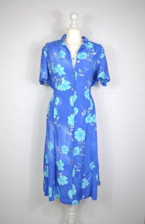 True Vintage Kleid in Blau und Himmelblau mit Blumen, Blätter und Stielen