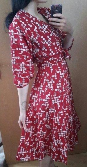 True Vintage Kleid Unikat Kimono Ärmel Bohemian Obi Gürtel rot Blumen