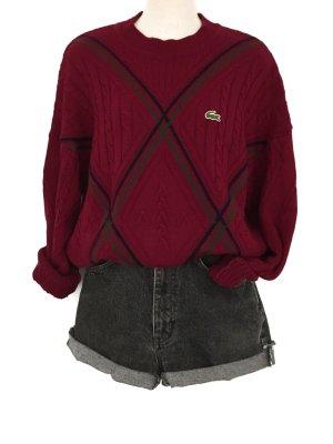 True Vintage Lacoste Pullover Pulli Oversize Knit Wear Strickmuster Unisex Bordeaux