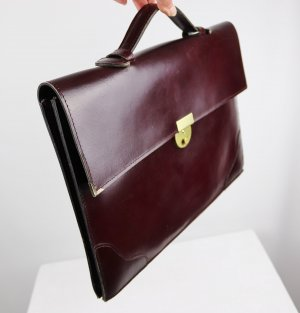 Vintage Briefcase bordeaux-brown red leather