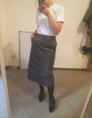 Vintage Leather Skirt multicolored leather