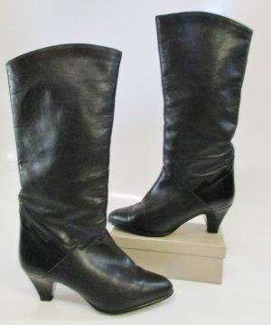 True Vintage Leder Stiefel Warm gefüttert Salamander Größe 5,5 38 Schwarz Zacken Wolle Muster 80er Schlüpfstiefel