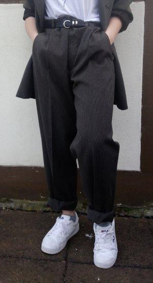True Vintage lockere Bundfaltenhose Anzughose highwaisted Hüfthose grau Highwaist Momjeans