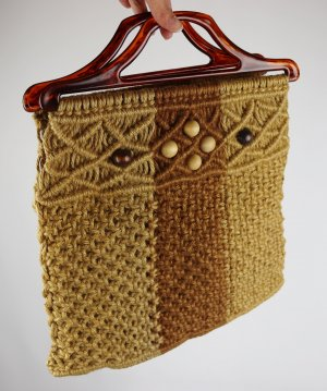 True Vintage Makramee Handtasche Shopper Bügeltasche Holz Sisal Knüpftasche Beutel 70er Beige Braun Handmade