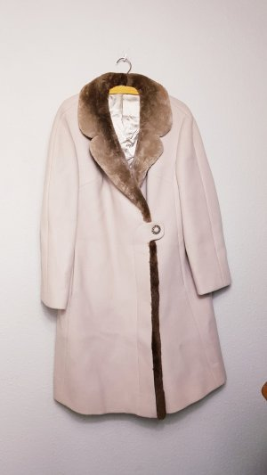 True Vintage Mantel mit Fellkragen, Vintage Mantel Beige