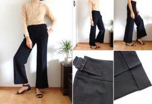 True Vintage Marlene Hose, Stoffhose, gerades Bein, schwarz, 34 36 S XS