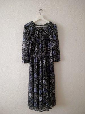 Robe longue gris-gris lilas