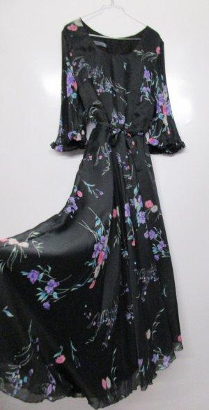 True Vintage Maxikleid 70er 60er Größe XL 42 Schwarz Lila Rosa Grün Bunt Blumen Georgette Plisee Chiffon langes Kleid  Boho Hippie Flower
