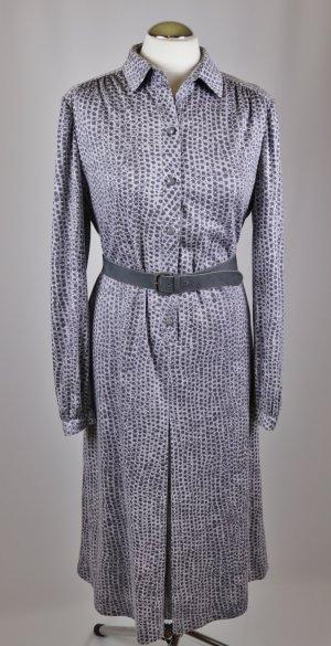 True Vintage Maxikleid Kleid Delmod international Größe L 40 42 Grau Hellgrau Punkte Dots Blusenkleid Jersey 40er Jahre Falte Gürtel Langarm