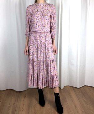True Vintage Midi-Kleid Altrosa Floral aus Paris 70's Bohemian Cosy Maxi Viskose Millefleur