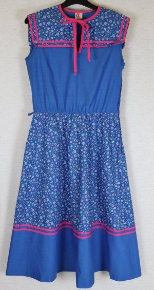 True Vintage Midi Kleid Lucie Linden Größe S 34 36 Blau Rosa Weiß Blumen Sailor Landhaus 60er 70er Flower Dress