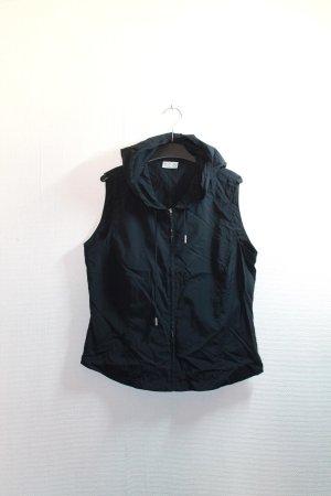 True Vintage, minimal, schwarze, dünne Weste mit Kapuze