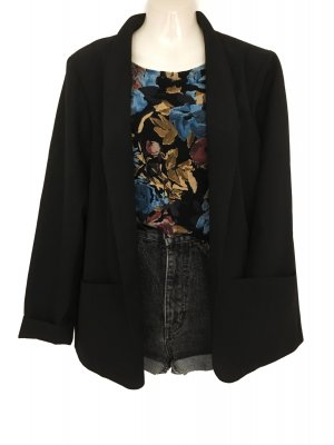True Vintage Minimalistic Blazer Clean Chic 80ies Schwarz Blogger Style Casual