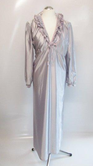 True Vintage Nachtkleid Morgenrock M 40 Eurobella Nylon Silber Rosa Kleid Satin Glanz Hollywood Dessous Rüschen 50er Roackabilly