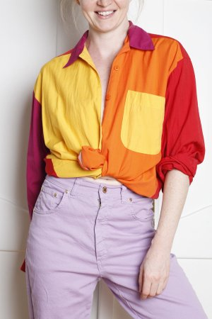 True Vintage Naf Naf Oversize 36 38 S M Bunt Color Blocking rot gelb lila violett