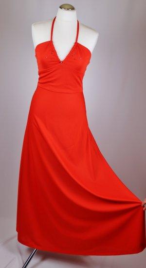 True Vintage Neckholder Maxikleid Größe S 36 Orange Strass V-Neck 70er Jahre Jersey A-Linie Boho Look Sommerkleid Kleid